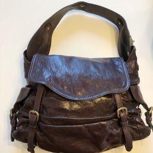 Kooba Leather Dark Brown Hobo Bag Convertible